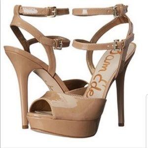 Sam Edelman Platform Sandal Tan Naden Patent